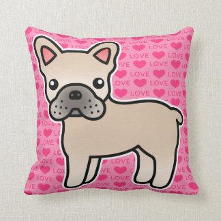 Dogo francés del dibujo animado poner crema almohada