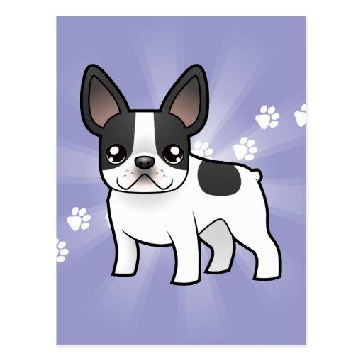 Dogo francés del dibujo animado postal