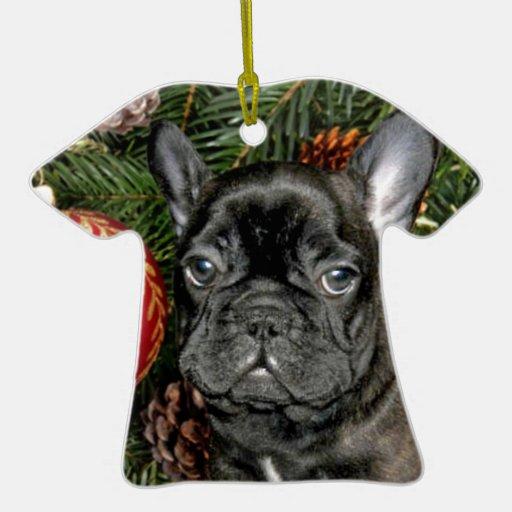 Dogo francés del navidad adorno navideño de cerámica en forma de playera