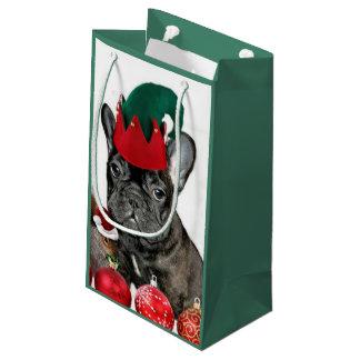 Dogo francés del navidad bolsa de regalo pequeña