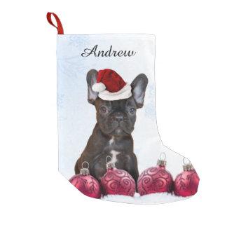 Dogo francés del navidad bota navideña pequeña