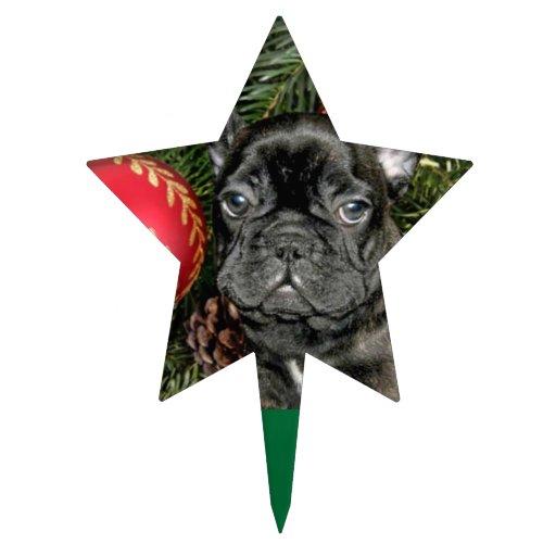 Dogo francés del navidad decoración de tarta