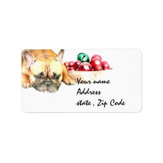Dogo francés del navidad etiquetas de dirección