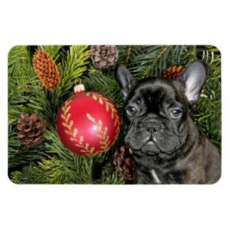 Dogo francés del navidad imán