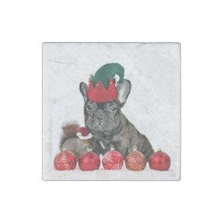Dogo francés del navidad imán de piedra
