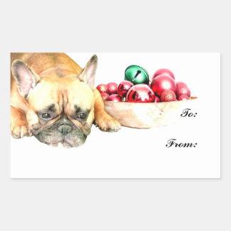 Dogo francés del navidad pegatina rectangular