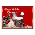 Dogo francés del navidad tardío feliz tarjeta de felicitación