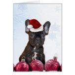 Dogo francés del navidad tarjeta de felicitación