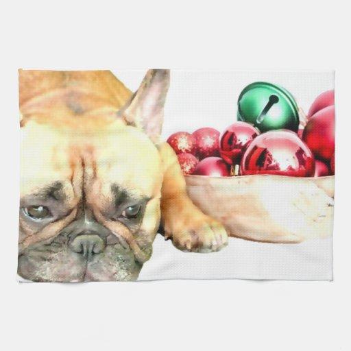 Dogo francés del navidad toalla