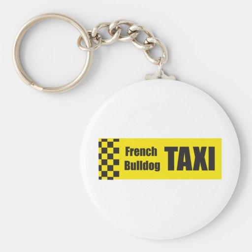 Dogo francés del taxi llavero redondo tipo pin