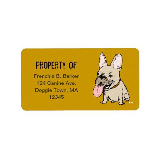 Dogo francés divertido con el texto de encargo etiqueta de dirección