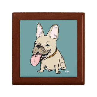 Dogo francés divertido con la lengua enorme que se cajas de recuerdo