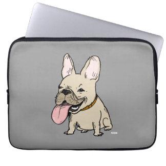 Dogo francés divertido con la lengua enorme que se mangas computadora