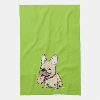 Dogo francés divertido con la lengua enorme que se toallas de cocina