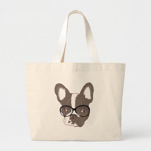 Dogo francés elegante bolsa tela grande