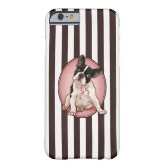 Dogo francés elegante y rayas clásicas funda de iPhone 6 barely there