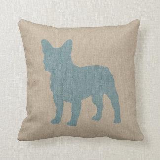 Dogo francés en azul en la mirada de lino cojin