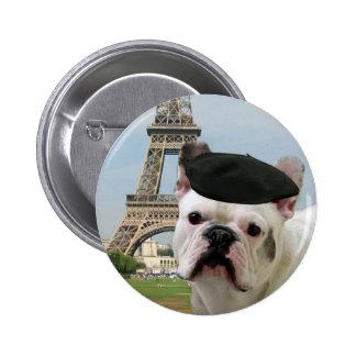 Dogo francés en el botón de París Pin Redondo De 2 Pulgadas