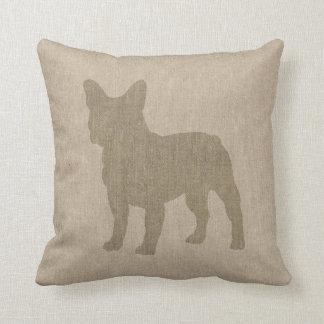 Dogo francés en gris en la mirada de lino cojines
