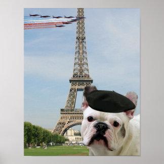 Dogo francés en París Póster