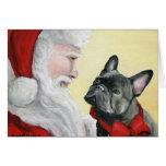 """Dogo francés en tarjeta de Navidad del revestimie"