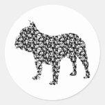 Dogo francés etiquetas redondas