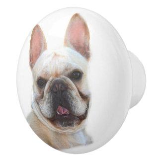 Dogo francés feliz pomo de cerámica