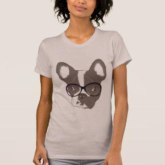 Dogo francés Geeky en camisa de los vidrios