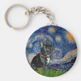 Dogo francés (negro 11) - noche estrellada llavero redondo tipo pin