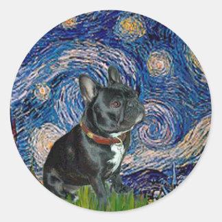 Dogo francés (negro 11) - noche estrellada pegatina redonda