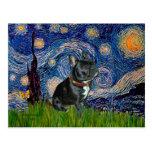 Dogo francés (negro 11) - noche estrellada postal
