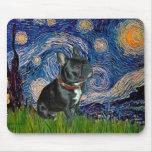 Dogo francés (negro 11) - noche estrellada tapetes de ratones