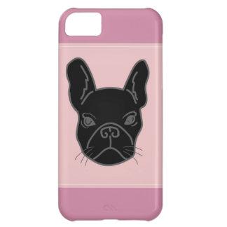 Dogo francés negro - caso rosado funda para iPhone 5C