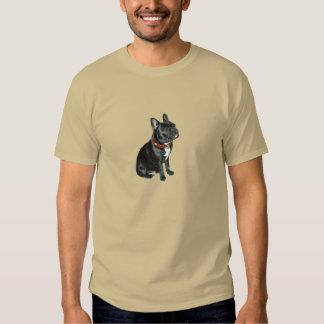 Dogo francés - negro con el cuello rojo playeras
