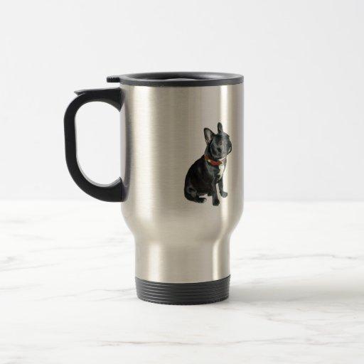Dogo francés - negro con el cuello rojo taza de viaje de acero inoxidable