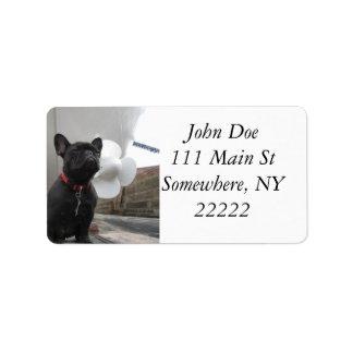 Dogo francés negro etiquetas de dirección