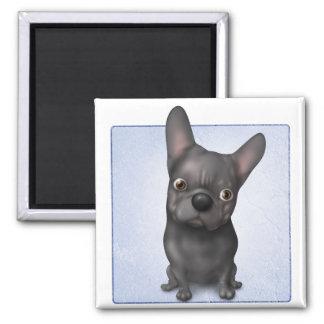 Dogo francés (negro) imán cuadrado
