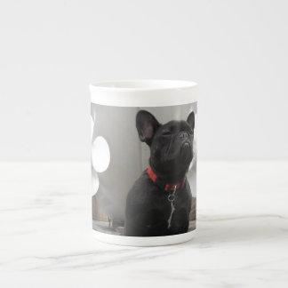 Dogo francés negro tazas de porcelana