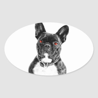 Dogo francés observado rubí colcomanias de oval
