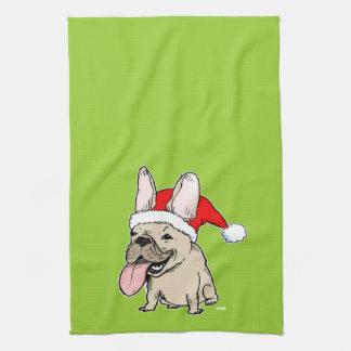 Dogo francés Papá Noel - día de fiesta lindo del p Toallas De Mano
