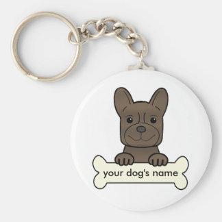 Dogo francés personalizado llavero redondo tipo pin