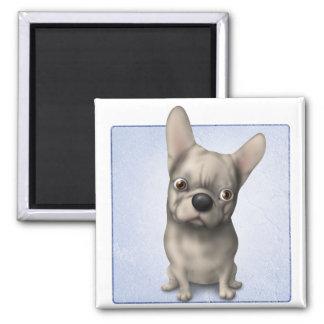 Dogo francés (piel de ante) imán cuadrado