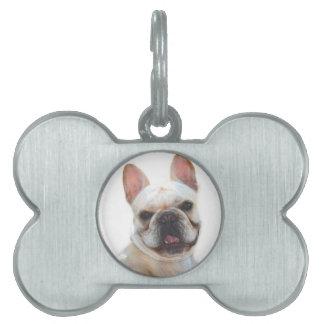 Dogo francés placa de nombre de mascota