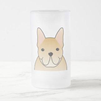 Dogo francés poner crema. Dibujo animado del perro Taza De Cristal