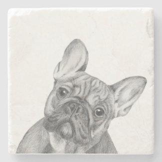 Dogo francés posavasos de piedra