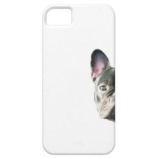 """Dogo francés """"que mira a escondidas"""" la caja del funda para iPhone 5 barely there"""
