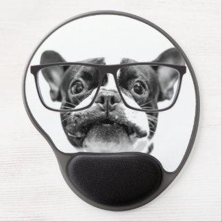 Dogo francés reputable con los vidrios alfombrilla para ratón de gel