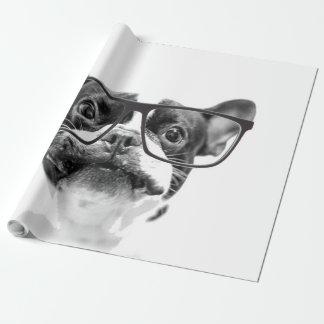 Dogo francés reputable con los vidrios papel de regalo