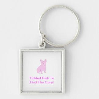 Dogo francés rosado llavero cuadrado plateado