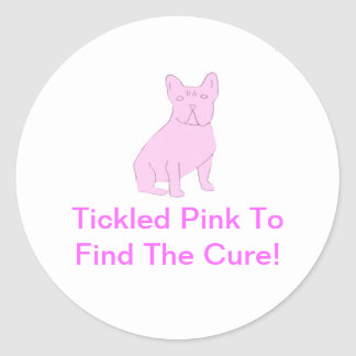 Dogo francés rosado pegatina redonda